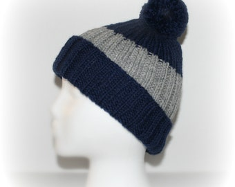 Hand Knit Hat, Knit Hat Beanie, Wool Slouchy Hat, Women, Unisex Knit Hat, Navy, Gray Hat