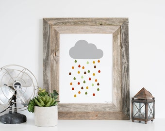 Rainy Cloud Art Print, Digital Art, Printabel Art, Nursery Cloud Art Decor, Nursery wall decor, Baby Art, Minimalist Art Print, Cloud Art