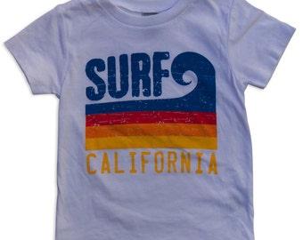 Surf California Wave Stripe Infant/Toddler Tee White