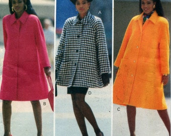 Vintage Butterick 5707 Swing Coat Top Skirt Sewing Pattern Sizes 6 8 10 Uncut Easy to Sew