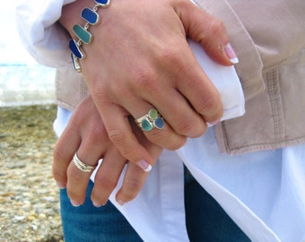 Set of 3 Sea Glass Stack Rings | Set of 3 Rings | Sterling Silver & Authentic Sea Glass Ring | Eco Friendly | Hand made | Sea Glass