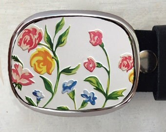 Flower Belt Buckle.  Garden Art.  Made from vintage tin can.    Womens gifts.