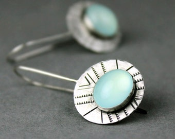 Aqua Chalcedony Earrings, Stamped Silver with Light Blue Green Bezel Set Gemstones