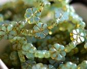 NEW! Morning Dew - Czech Glass Beads, Aqua Opaline, Picasso, Small Flowers 10mm - Pc 10
