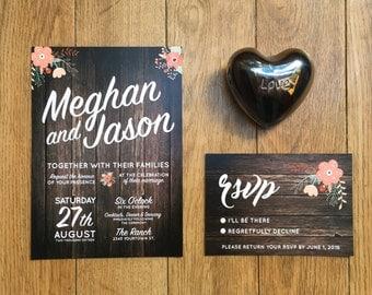 wedding invitation set printable - rustic wedding template - diy wedding invitations