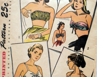 Vintage 1940s Bra Top Pattern Simplicity 2026 Halter Top Bandeau Top Bust 34 36 Pin Up Pattern