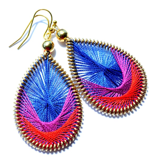 Siren- Blue, Pink and Red Thread Woven Earrings. String Earrings. String Art. Color Block.
