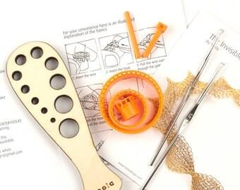 Yoola Supply Wire Crochet  Kit ,  wood draw plate, 2 crochet hooks , ISK starter set , Jewelry Making , Tools crochet , DIY jewelry kit