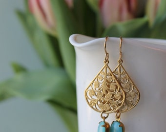 Brass Chandelier Earrings / Boho Chic Summer Earrings / Vintage Glass Drop Earrings / Filigree Brass with Vintage Glass / Gold and Turquoise
