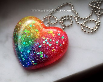 Statement Necklace - Somewhere Over the Rainbow You'll Find a Glitter Heart... handmade by isewcute