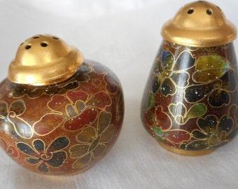 Set of VINTAGE Cloisonne Enamel Salt & Pepper Shakers