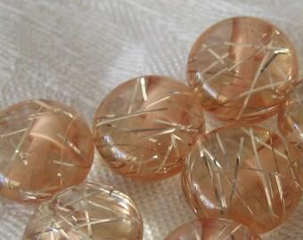 Set of 5 VINTAGE Pink Foil Line Lucite BUTTONS