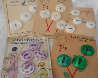 Lot Sets of VINTAGE Carded Carved & Dyed Shell Craft Sewing BUTTONS W02
