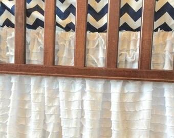 White Crib Skirt - White Crib Bedding - White Ruffled Bedskirt - Crib Bedskirt- Ruffled Nursery Skirt- White Baby Crib Bedskirts- Crib Skirt