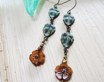 Patina Tiny Flower Earrings, Art Deco, Czech Flower Earrings, Topaz Flower, Verdigris Patina, Bohemian, Vintage style, Gardendiva