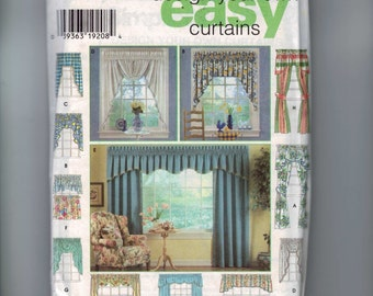 Craft Sewing Pattern Simplicity 7256 Home Decor Design Your Own Curtains Cafe Window Treatment Drapes UNCUT