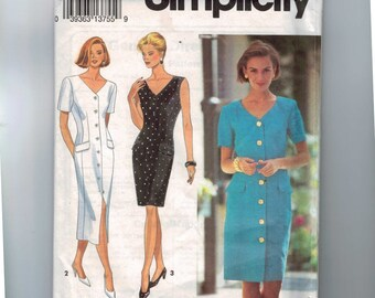1990s Sewing Pattern Simplicity 8286 Misses Slim Dress Fitted Button Front Size 10 12 14 Bust 32 34 36 UNCUT