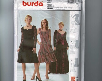 Misses Sewing Pattern Burda 8433 Misses Flared Princess Dress with Incet Flounces Size 10 12 14 16 18 20 22 UNCUT