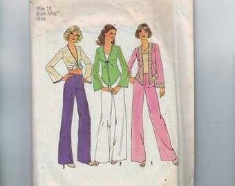 1970s Vintage Sewing Pattern Simplicity 6971 Misses Disco Wide Leg Pants Top Stretch Knit Hippie Size 10 Bust 32 1975 70s  99