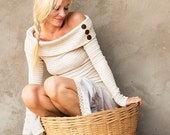 New! LILLY LONG SLEEVE - Boho Bohemian Hippie Linen Dress Fairy Burning man Pixie Goa Gypsy Vintage Cowl - Off white Cream Beige