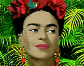 Frida Kahlo Poster Instant Digital Download Painting Print Mixed Media Collage Modern Photomontage Ferns Green Red Pink Oil Small to Poster