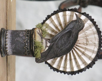 Small Vintage Halloween Victorian Inspired CROW RavenStanding on a Spool with Rosette