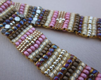 pink and bronze square stitch bracelet with gold snap clasp - one of a kind