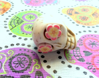 Gigantic Ivory Howlite Skull Bead or Pendant  with Pink and Yellow Flower Eyes