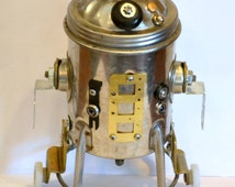 R7-D3, a Recycled Droid and Nightlight - Recycled Robot (Found Object Art)