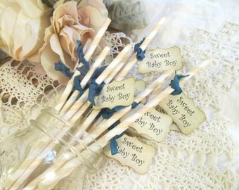 Baby Shower Party Straws Favor w/Tags - Sweet Baby Boy or Girl - Choose Straw & Ribbons - Set of 18 - gender reveal - its a boy girl