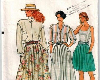 Vintage 80s Vogue 9297 Pleated Skirt Sewing Pattern 3 Lengths Sizes 12-14-16 Waistband w/carriers Pockets Back Zipper Summer Casual Skirt