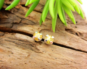Bright Yellow Sapphire Earrings in Gold, Silver, or Platinum with Genuine Gems, 3.5mm - Free Gift Wrapping