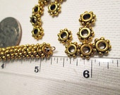 Metal Beads, Gold Daisy Spacer, 8mmx3mm, 2mm Large Hole - bm125