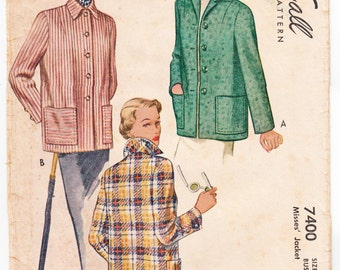 """Vintage Sewing Pattern Ladies' Coat 1940's McCall 7400 32"""" Bust- Free Pattern Grading E-book Included"""