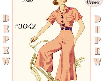 Vintage Sewing Pattern Reproduction 1930's Culotte Dress Depew 3042 -PAPER VERSION