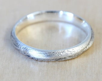 Bristlecone Tree Bark Wedding Band in Recycled Silver, Wedding Band Wood, 3mm thin Wedding Band, California Ring, Size 5 Ring