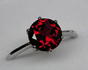 AAAA Red Garnet 8mm round natural untreaed Pyrope Garnet 2.10cts in 14K White gold ring. 0795