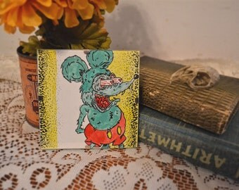 Original Rat Fink Ink & Watercolor - Mickey Mouse