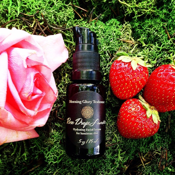Rose Drops Lumiére ~ Hydrating & Nourishing Botanical Facial Serum for luminous skin, Moroccan Rose and Davana (Strawberry-like) Aroma