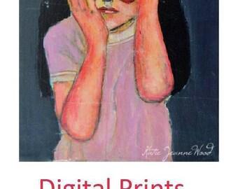 Digital Print. Halloween Portrait Painting. Little Girl Print. Red Masquerade Mask. Superhero Wall Art Print. Katherine Wood Art