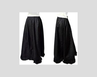 Larger Size Victorian Era Sateen Bustle Skirt Black Heavy Reliance Corset Co. Flounce Ruffle