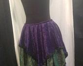 Green Purple Black Lace Trim Layered Full Skirt