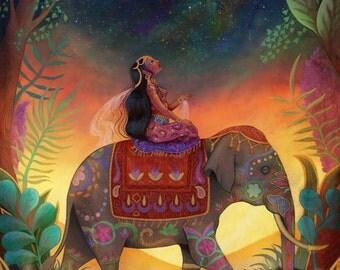 The Awestruck Princess 8X10 | indian princess art, elephant print, meditation art, mindfulness art, far east, reach for the stars Meluseena