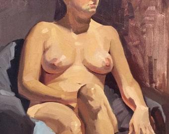 "Art painting portrait figure nude ""Looking Left"" 14x18 inch original oil by Oregon artist Sarah Sedwick"