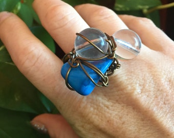 Blue Howlite Ring // Boho Jewelry // Beaded Ring // Healing Stones // Anxiety Ring // Adjustable Ring // Lucite Beads // Wire Wrapped Ring