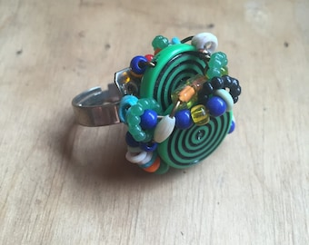 Beaded Statement Ring // Unusual Jewelry // Wire Wrapped // Adjustable Ring // Funky // Hip Hop // StreetWear // Rave // EDM Festival