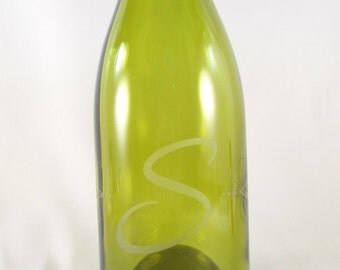 Monogrammed Vase Recycled Glass Wine Bottle Sandblasted Personalized Yellow Chardonay