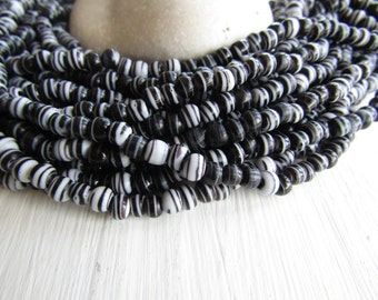 mini black white glass beads, striped round lampwork bead, small spacer, irregular  boho ethnic Indonesian - 3.5 to 5.5mm /10 inch 6bb16-5