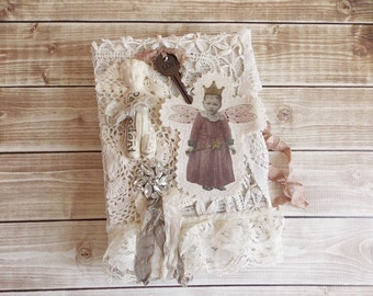 Shabby Vintage Book Altered Art Assemblage Tattered and Lace Distressed Book Hollow Book Secret Book