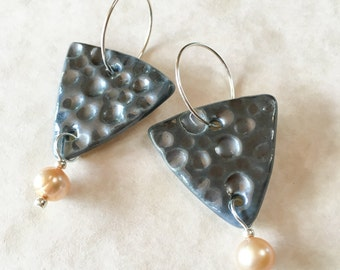 Pewter Glazed Porcelain Triangle Earrings with Freshwater Pearls-As Seen on TV Show BrainDead-Handmade Porcelain and Pearl Earrings-Sterling